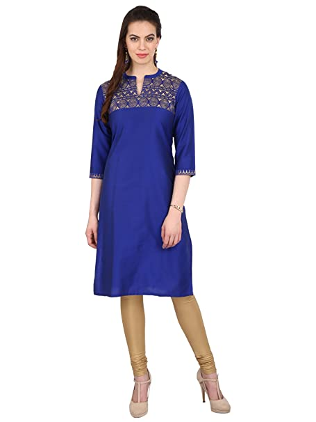 27ec6198d6e Srishti by fbb Women s Royal Blue Embroidered Festive Kurta  Amazon.in   Clothing   Accessories