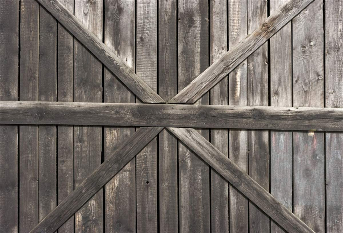 YEELE Barn Door Backdrop 10x8ft Rustic Wooden Door with Cross Country Theme Photography Background Fall Event Church Decor Baby Shower Wedding Family Photoshoot Props Digital Wallpaper