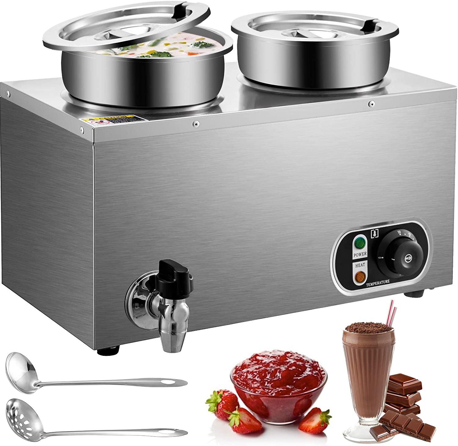 VEVOR 110V Commercial Food Warmer 8.4 Qt Capacity, 500W Electric Soup Warmer Adjustable Temp.32-185℉, Stainless Steel Countertop Soup Pot with Tap, Bain Marie Food Warmer for Cheese/Hot Dog/Rice