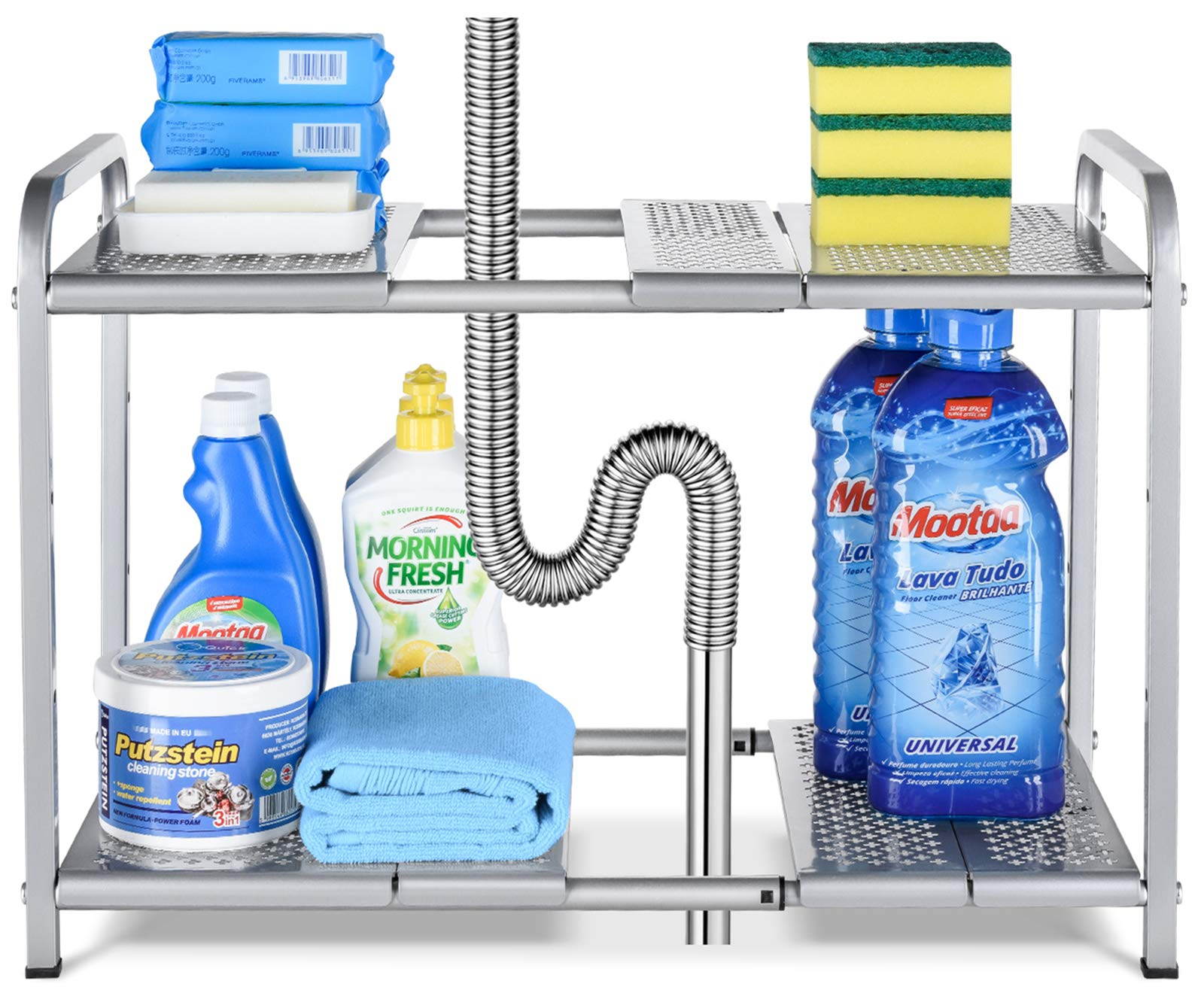 Bextsware Metal Under Sink 2-Tier Expandable Shelf Organizer Rack, Adjustable Height and Position, 7 Removable Shelves - Expandable 18'' to 25''for Kitchen Bathroom Cabinets Storage, Chrome by Bextsware