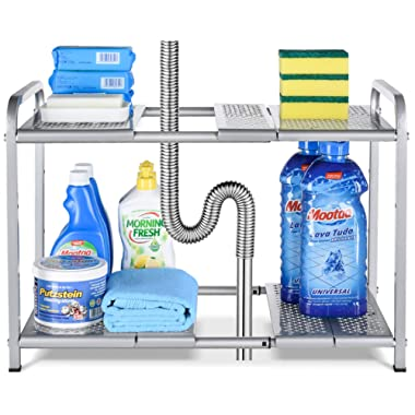 Bextsware Metal Under Sink 2-Tier Expandable Shelf Organizer Rack, Adjustable Height and Position, 7 Removable Shelves - Expandable 18'' to 25''for Kitchen Bathroom Cabinets Storage, Chrome