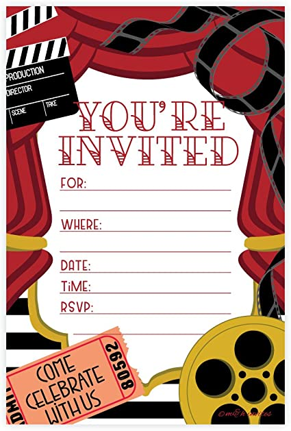 Amazon Com Movie Party Invitations Fill In Style 20 Count With Envelopes Health Personal Care