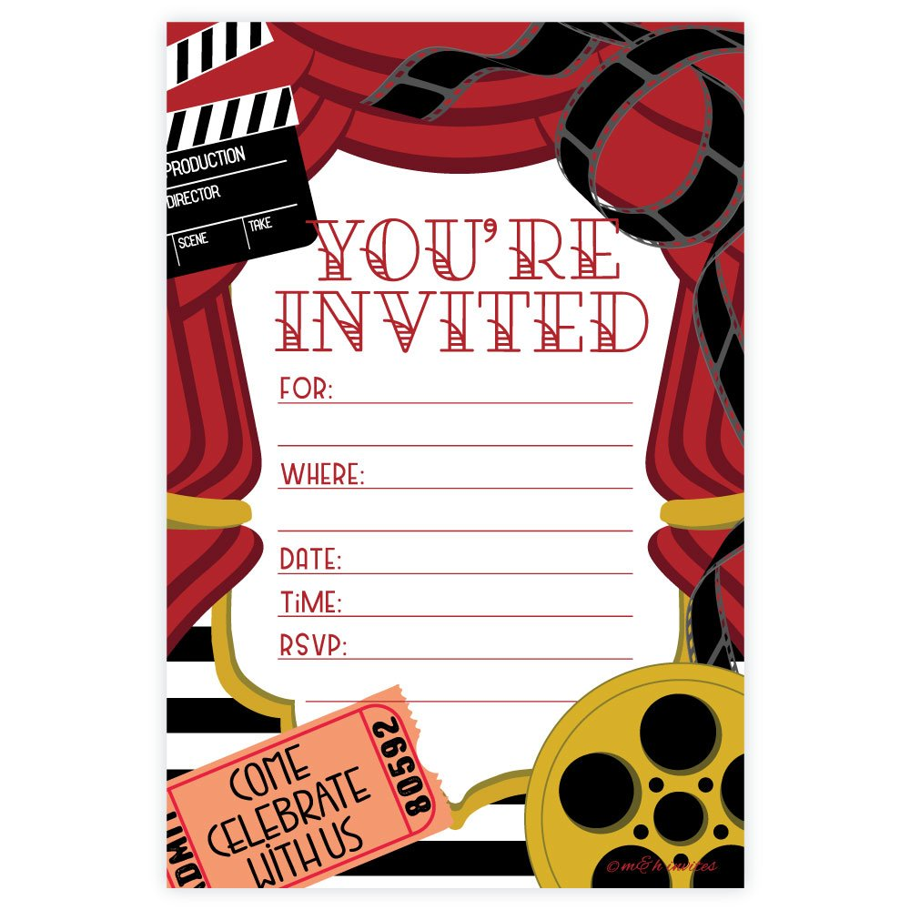 Amazon.com: Movie Party Invitations - Fill In Style (20 Count) With ...