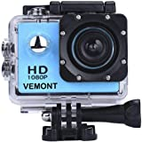 Vemont Action Camera 1080P 12MP Sports Camera Full HD 2.0 Inch Action Cam 30m/98ft Underwater Waterproof Camera with Mounting
