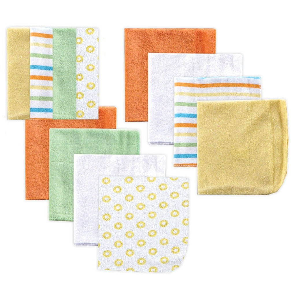 Luvable Friends 12 Pack Washcloths, Yellow by Luvable Friends