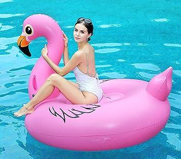 Flamenco Inflable Flotador Gigante 170cm, Hinchables Piscina Juguetes Colchoneta Acuáticos Divertidos Ummer Unicornio Beach Swim Ring Fiesta Balsa con Válvulas Rápidas para Niños Adultos: Amazon.es: Juguetes y juegos