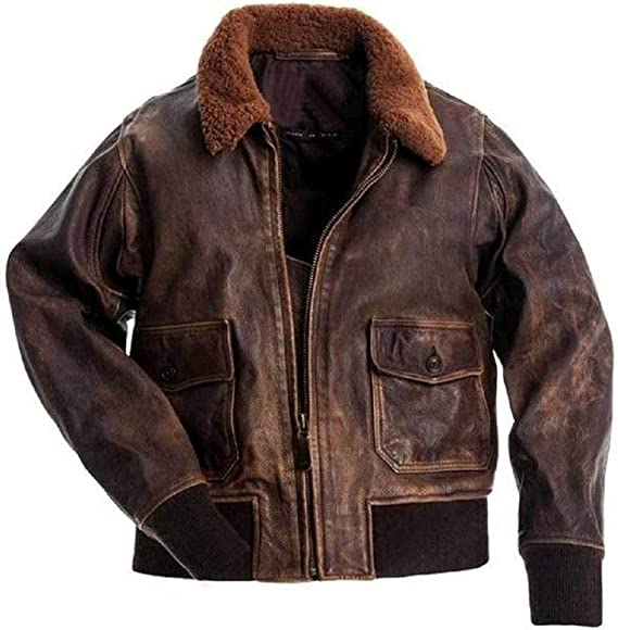 Large Aviator G-1 Flight Jacket Distressed Brown Real Leather Bomber
