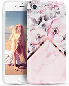 iPhone 8 Case Marble, Imikoko Slim iPhone 7 Case Floral Pattern Flexible Soft TPU Shockproof Protective Case for iPhone 7 & 8