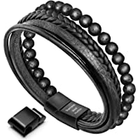21f646ab95d murtoo Mens Bead Leather Bracelet, Blue and Brown Bead and Leather Bracelet  for Men
