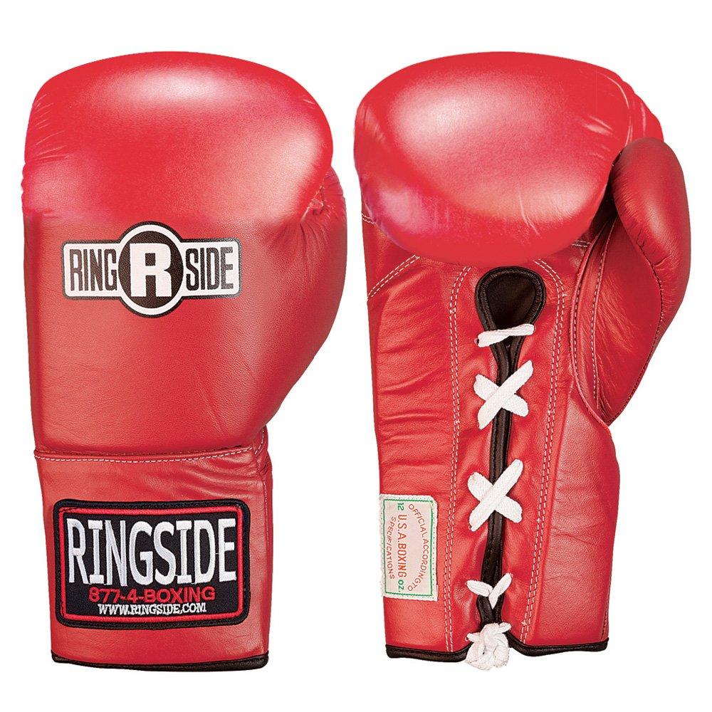 Ringside 競技用安全手袋 レースアップ B07MF543X6 レッド 10 oz