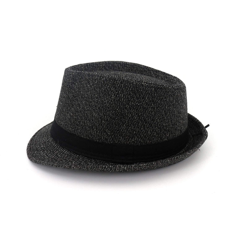 Men Women Autumn Winter Fedora Hats Wool Felt Gangster Hat Ladies Vintage Church Wide Brim with Ribbon