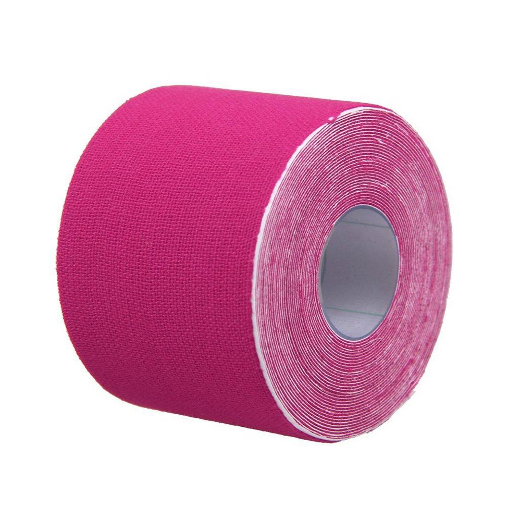 VORCOOL Kinesiologie Band Sport Physio Muskelzerrung Verletzungen Unterstützung Schmerzlinderung Band Uncut 5CM x 5M (Pink)