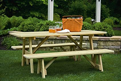 Amazoncom Ft Pressure Treated Pine Picnic Table With - Treated lumber picnic table