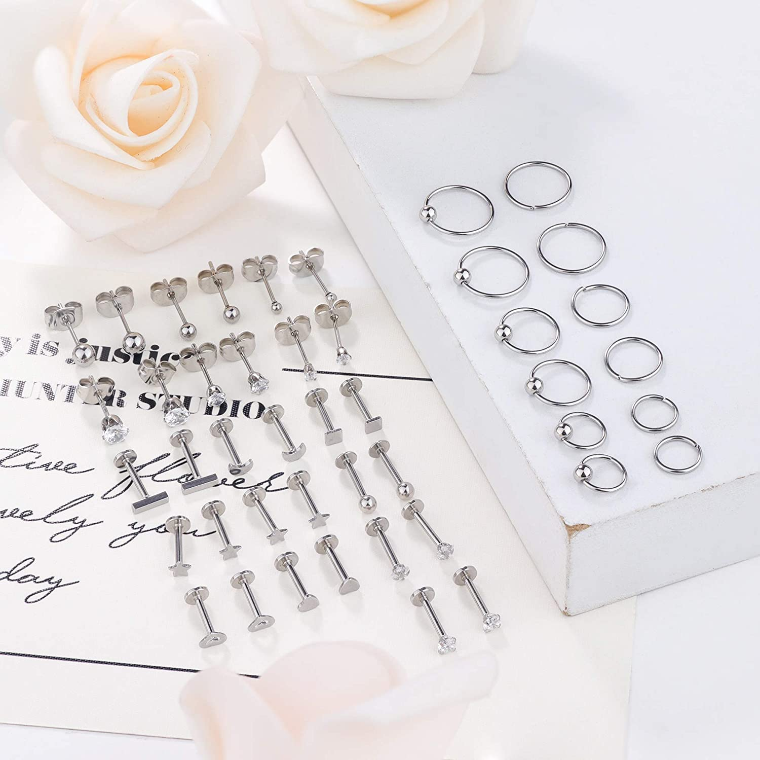 LOYALLOOK 22Pairs Stainless Steel Cartilage Earrings for Men Women Labret Monroe Lip Ring Studs Tiny Stud Earrings Ball CZ Tragus Helix Piercing Earrings