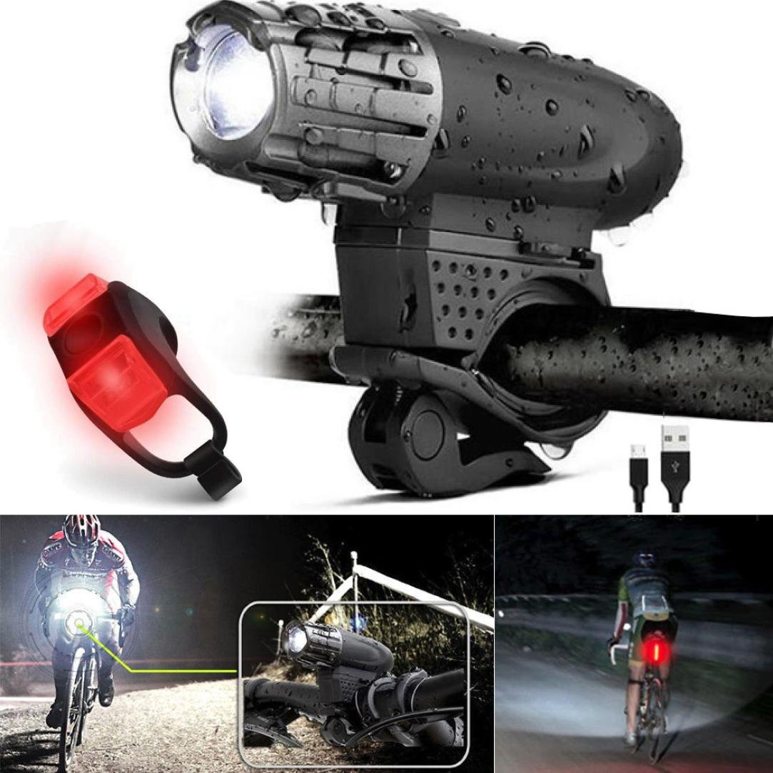Enjocho 2018 USB Rechargeable LED Bicycle Bright Bike Front Headlight and Rear Tail Light Set (Black)