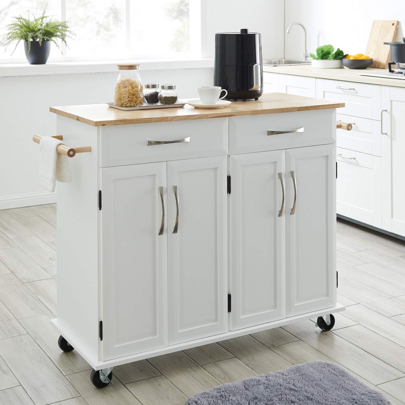 BELLEZE Rolling Kitchen Cart On Wheels Cabinet Storage Cart Island Heavy Duty Storage Rolling Trolley by Belleze