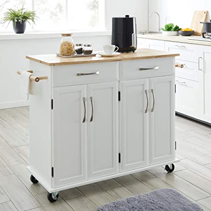 Brilliant Belleze Rolling Kitchen Cart On Wheels Cabinet Storage Cart Island Heavy Duty Storage Rolling Trolley Home Remodeling Inspirations Propsscottssportslandcom