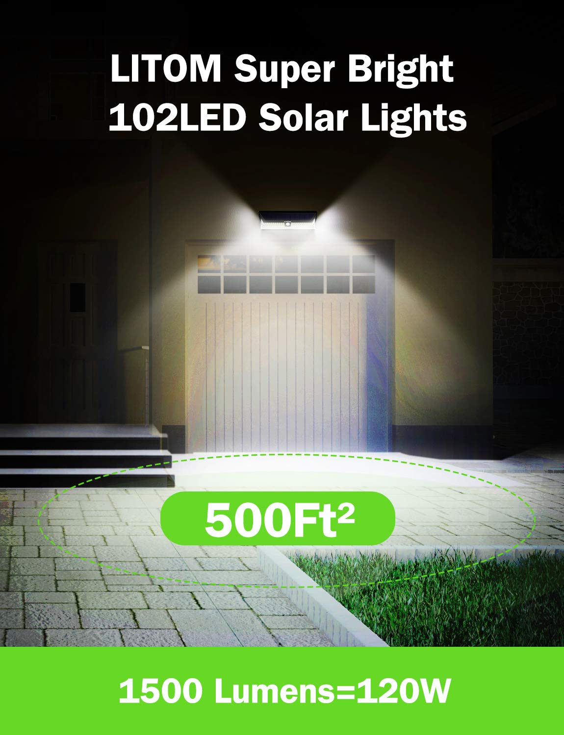 LITOM Enhanced 102 LED Super Bright Solar Lights Outdoor, Solar Motion Sensor Lights with 270 Wide Angle, IP65 Waterproof, Easy-to-Install Security Lights for Front Door, Yard, Garage, Deck