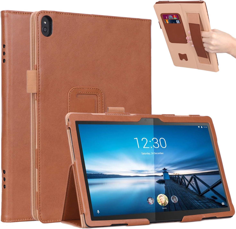 "Jasilon Lenovo Tab P10 /M10 Case, Premium PU Leather Stand Flip Folio Case Cover for Lenovo tab M10 (TB-X605F) /P10 (TB-X705F) 10.1"" Tablet 2018 Released (Brown)"