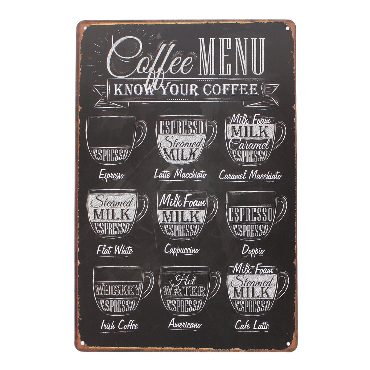 Yesurprise Vintage Tin Signs Retro Decorative Metal Wall Art Decor Plaque Decorations for Home Living Room Cafe Theme Hotel Bar - 12x 8 Coffee Menu