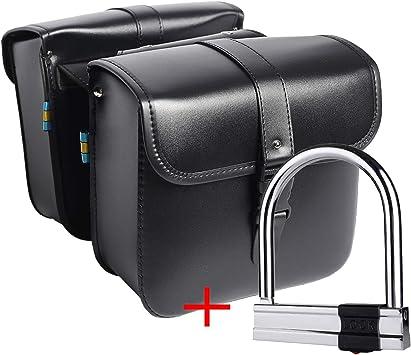 Paar Motorrad Satteltaschen Leder Pu Wasserdichte Abnehmba Satteltasche Werkzeugkasten Auto