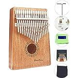 Kalimba 17 Keys Finger Thumb Piano,Mbira,Solid Mahogany Body - with Calibrating Tune Hammer and Storage Bag