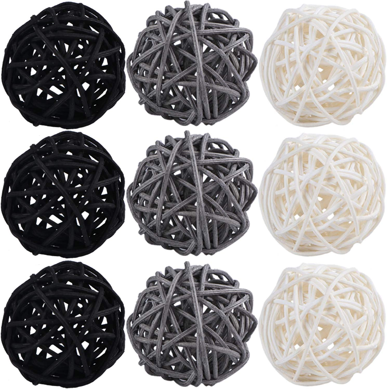 STMK 9 Pcs 3 Inch Wicker Balls Decorations, Rattan Balls Decorative for Home Decor DIY Vase Bowl Filler Ornament Baby Room Nursery Décor Wedding Table Decoration (Black, Grey, White)