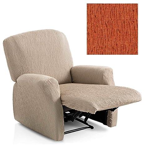 Jarrous Funda de Sillón Relax Completo Elástica Modelo Arucas, Color Naranja-7, Medida 60-80cm Respaldo
