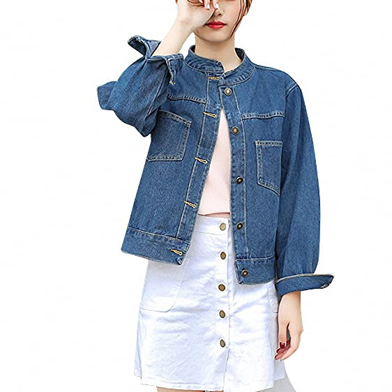 female jean jacket For Women NEW spring casual double pocket decorated denim jacket Stand Collar clothing