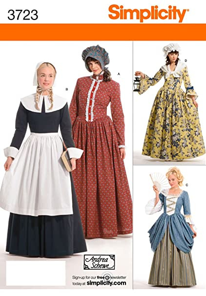 Amazon.com: Simplicity Sewing Pattern 3723 Women\'s Pioneer Pilgrim ...
