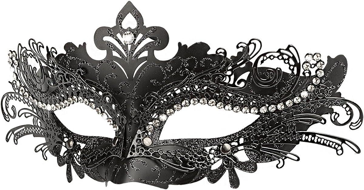 Black w// Rhinestones Womens Superhero Costume Metal Venetian Masquerade Mask