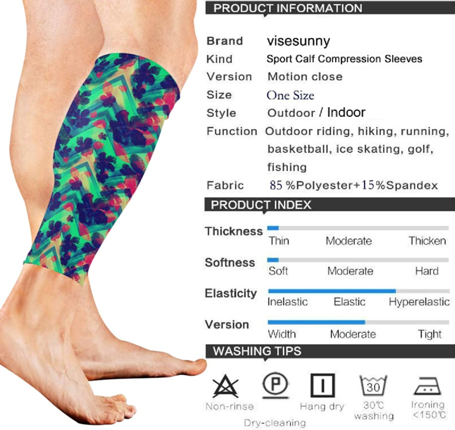 visesunny Cool Floral Pattern Print Sports Calf Support Sleeves for Muscle Pain Relief, Improved Circulation Compression Effective Support for Running, Jogging,Workout,Recovery(1 Pair)