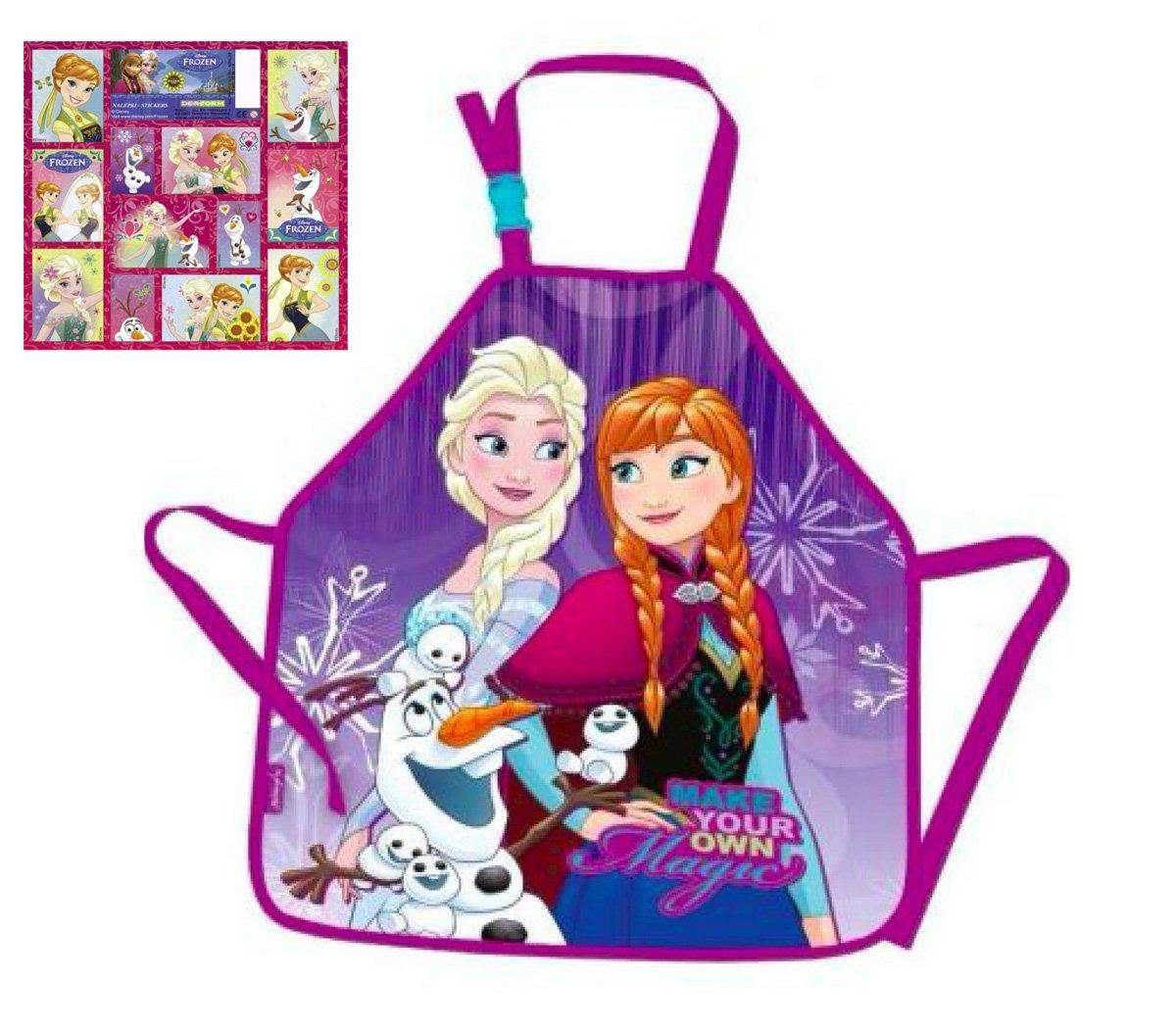 Die Eiskönigin Disney - Frozen Bastelschürze/Kinderschürze / Malschürze/Kochschürze - Motiv: Anna & ELSA & Olaf & + 12 Frozen Sticker