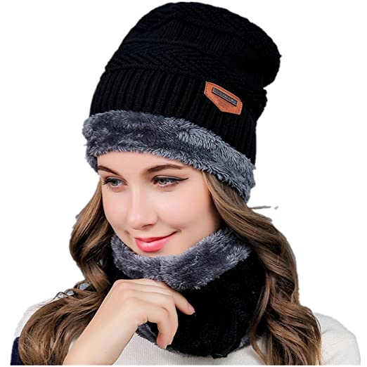 Image Unavailable. Image not available for. Color  Winter Beanie Hat Scarf  Set Slouch Warm Knit Hat Neck Warmer for Men Women Kids 93b85f51d09f