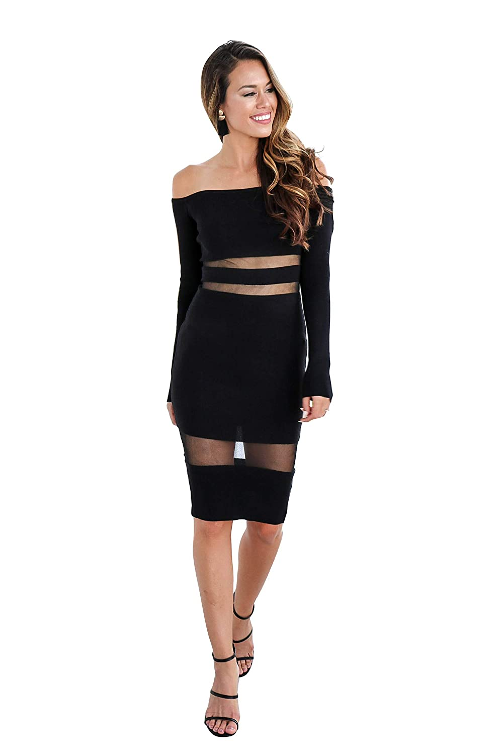 935eb5e1e4d7 Womens Long Sleeve Off The Shoulder Night Club Work Dress at Amazon Women s  Clothing store