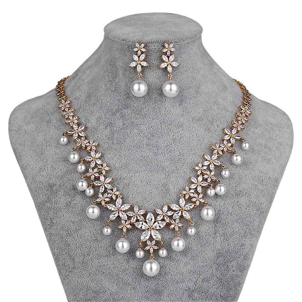 FeliciaJuan Ladies Party Party Exaggerated Necklace Earrings Bracelet Ring Set