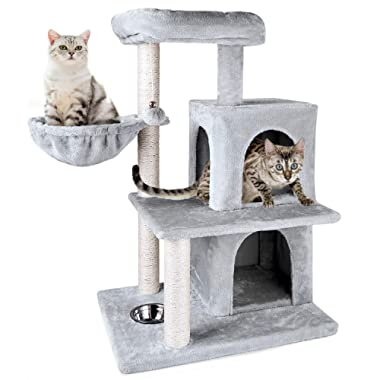 ZNWIYE Cat Tree Condo Furniture Kitten Activity Tower, Sturdy Cat Tree with Feeding Bowl, Cozy Basket with 2 Condos