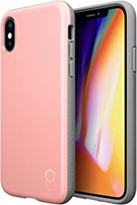 PATCHWORKS iPhone X Case, [Level ITG Series] One Piece TPU PC Hybrid Dual Material Matte Finish Side Grip with Added Air Pocket and Drop Tested Hard Case for iPhone X / 10 (2017) - Pink/Grey