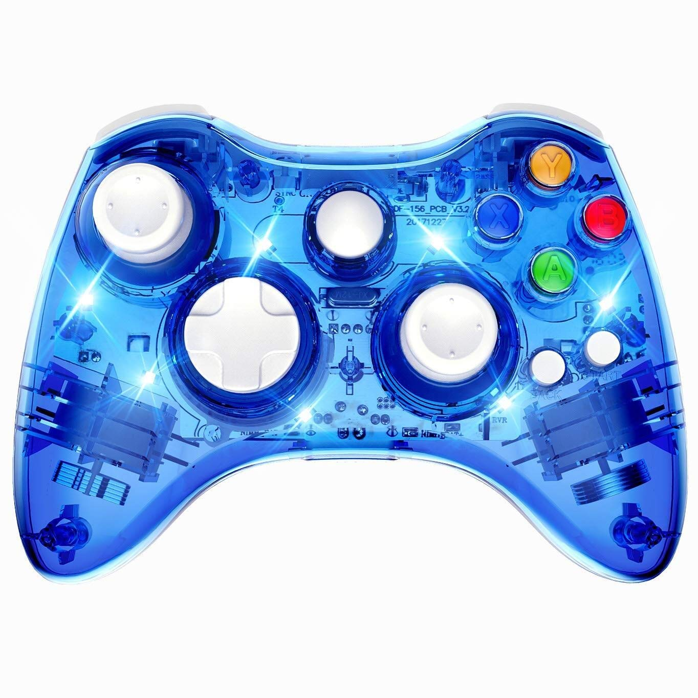 Xbox 360 Wireless Controller, Wireless Game Controller Gamepad Joystick, Transparent Shell, Suitable for Xbox 360 Console/PC Windows7/8/10 -Trasparent Colorfull LED Lights (Third-Party Product) by GAME JIANG