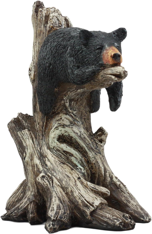Ebros Lazy Days of Summer Black Bear Sleeping On Tree Branch Statue Wildlife Forest Rustic Cabin Decor Bear Figurine