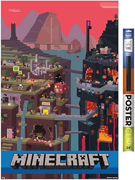 Amazon Com Trends International Minecraft Cube Wall Poster 22 375 X 34 Poster Clip Bundle Home Kitchen