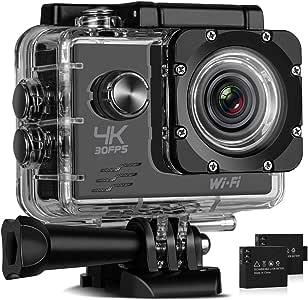 MixMart Cámara Deportiva 4K WiFi Impermeable Sumergible hasta 30m Sensor de Sony 16MP Ultra HD Gran Angular Lente de 170 Grados 2 Pulgadas de Pantalla LCD con Accesorios Múltiples