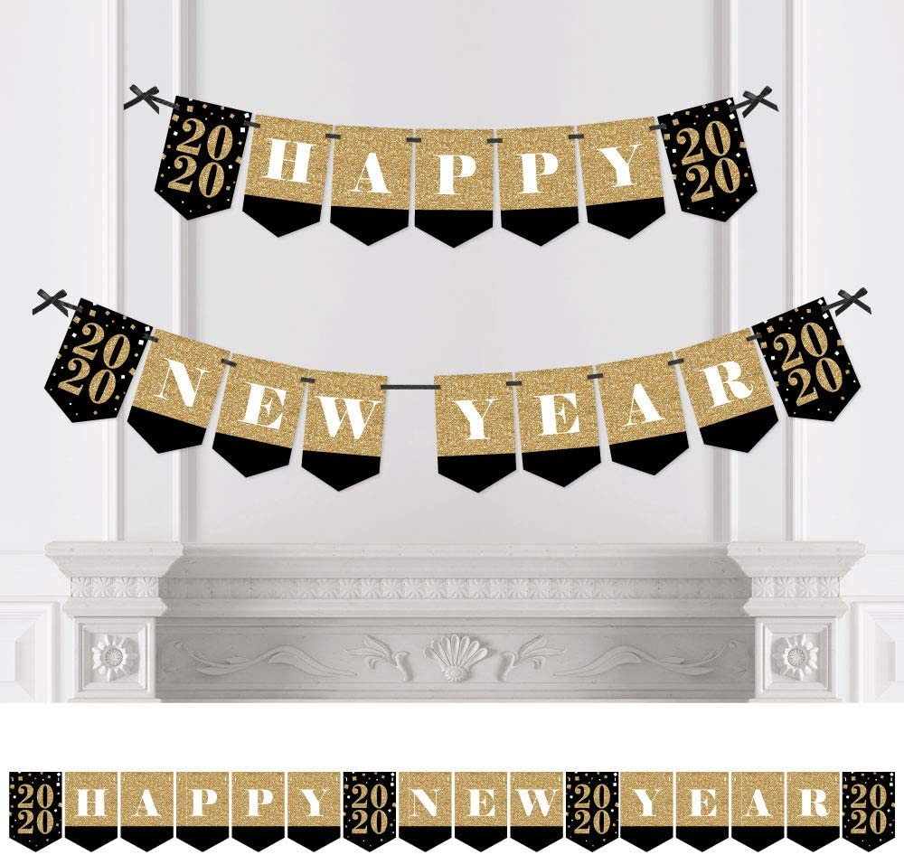 perfect decoration to celebrate New Year Gold Fireworks bunting banner 15 flags PARTY/_DECOR Happy New Year 2020