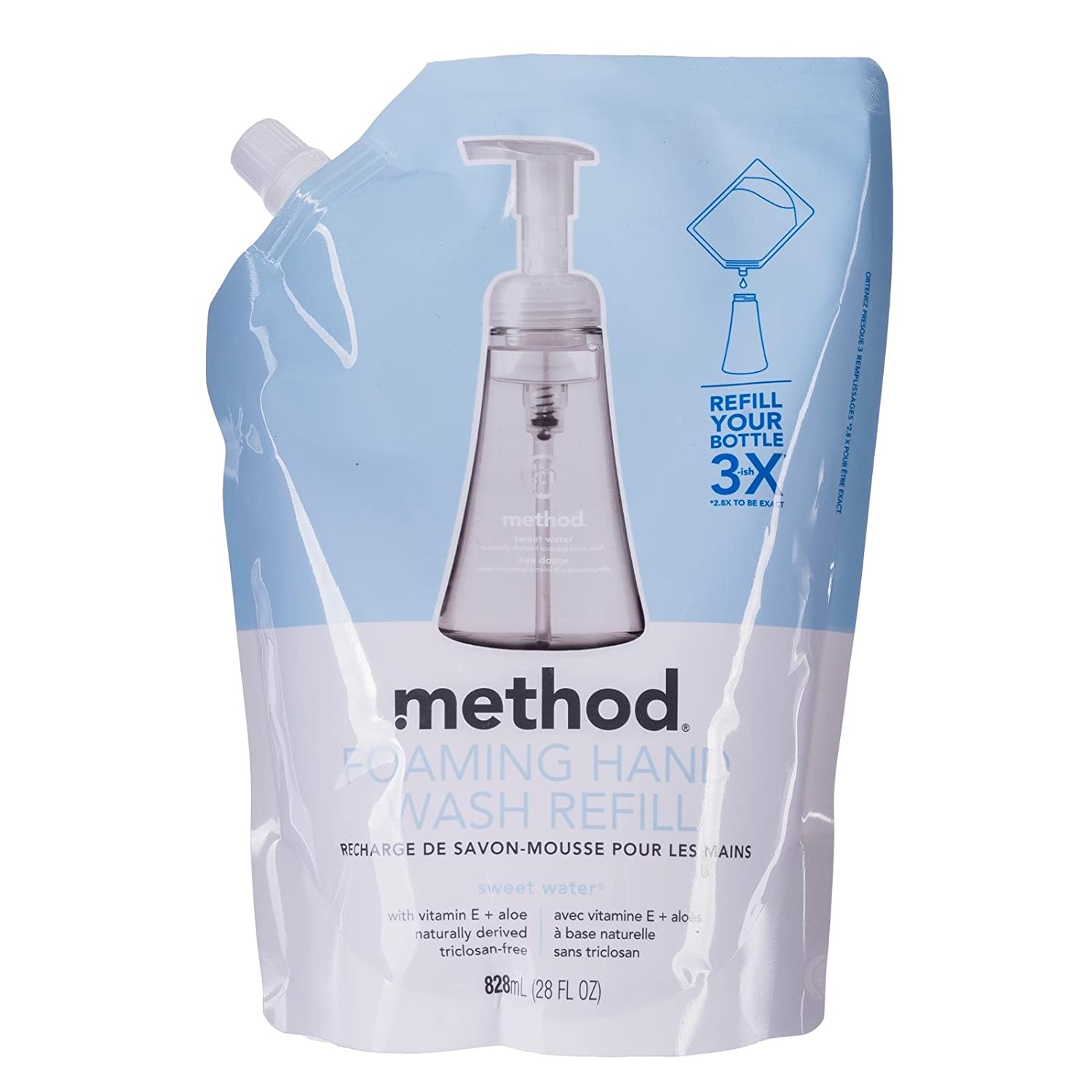 Method Products 00662 Foaming Hand Wash Refill, 28 oz. Pouch, Sweet Water Method 00662