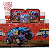 Monster Truck Party Supplies Pack for 16 Guests: Straws, Dessert Plates, Beverage Napkins, Cups, and Table Cover
