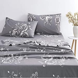 Wake In Cloud - Floral Sheet Set, 100% Cotton Bedding, White Rose Flower Pattern Printed on Dark Gray Grey (4pcs, Queen Size)
