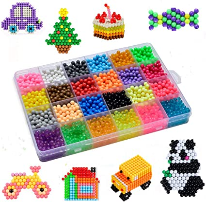 Vytung Water Fuse Beads Kit-3600 Beads 24 Colors 6 Jewel 3600 Beads Refill Pack Mega Bead Refill Beads for Kids Beginners Activity Pack