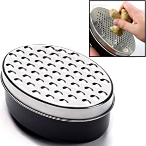 Cheese Grater Citrus Lemon Zester with Food Storage Container & Lid - Perfect For Hard Parmesan Or Soft Cheddar Cheeses, Ginger, Vegetables, Butter, Chocolate & Nutmeg (Black)