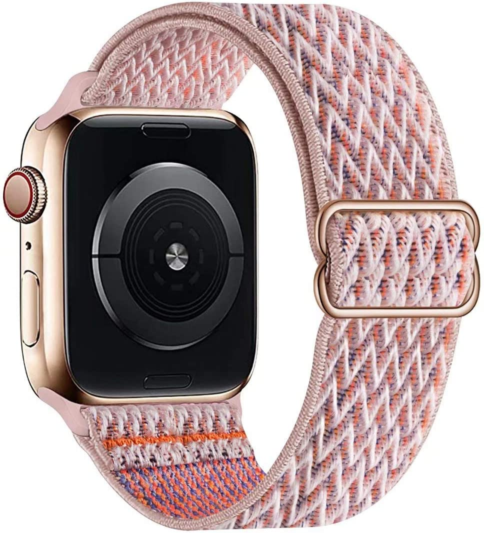 OHCBOOGIE Stretchy Solo Loop Strap Compatible with Apple Watch Bands 38mm 40mm 42mm 44mm ,Adjustable Stretch Braided Sport Elastics Weave Nylon Women Men Wristband Compatible with iWatch Series 6/5/4/3/2/1 SE,Pinksand,38/40mm