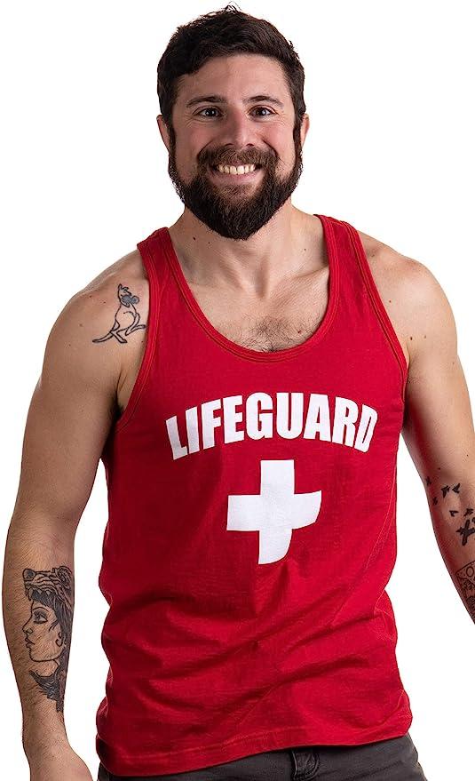 Funny Novelty Mens Vest Singlet Tank Top Lifeguard Red